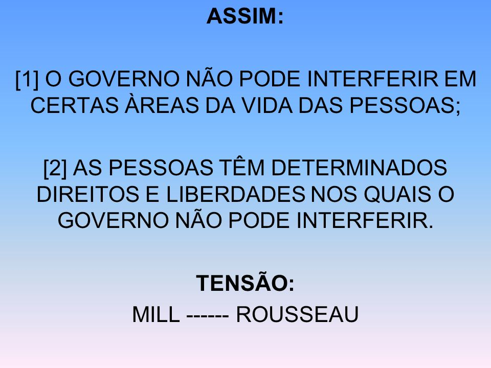 [1] O GOVERNO NÃO PODE INTERFERIR EM CERTAS ÀREAS DA VIDA DAS PESSOAS;